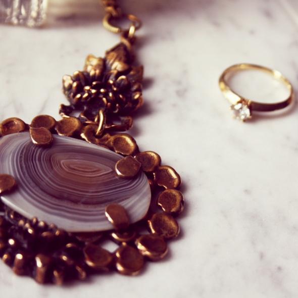 Pentti Sarpaneva Bronze necklace stone vintage ketting
