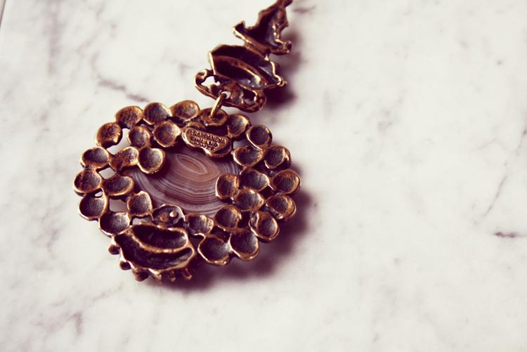 Pentti Sarpaneva Bronze necklace stone vintage 1548