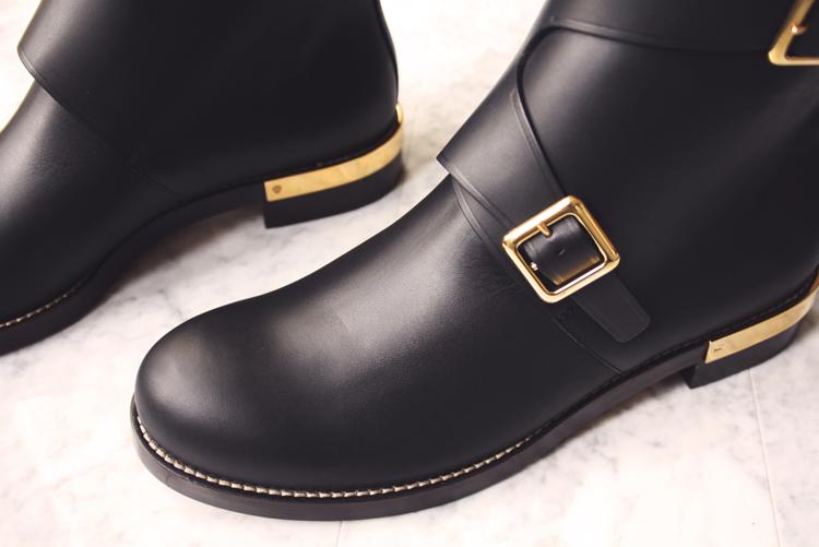 Chloe biker black leather boots gold details