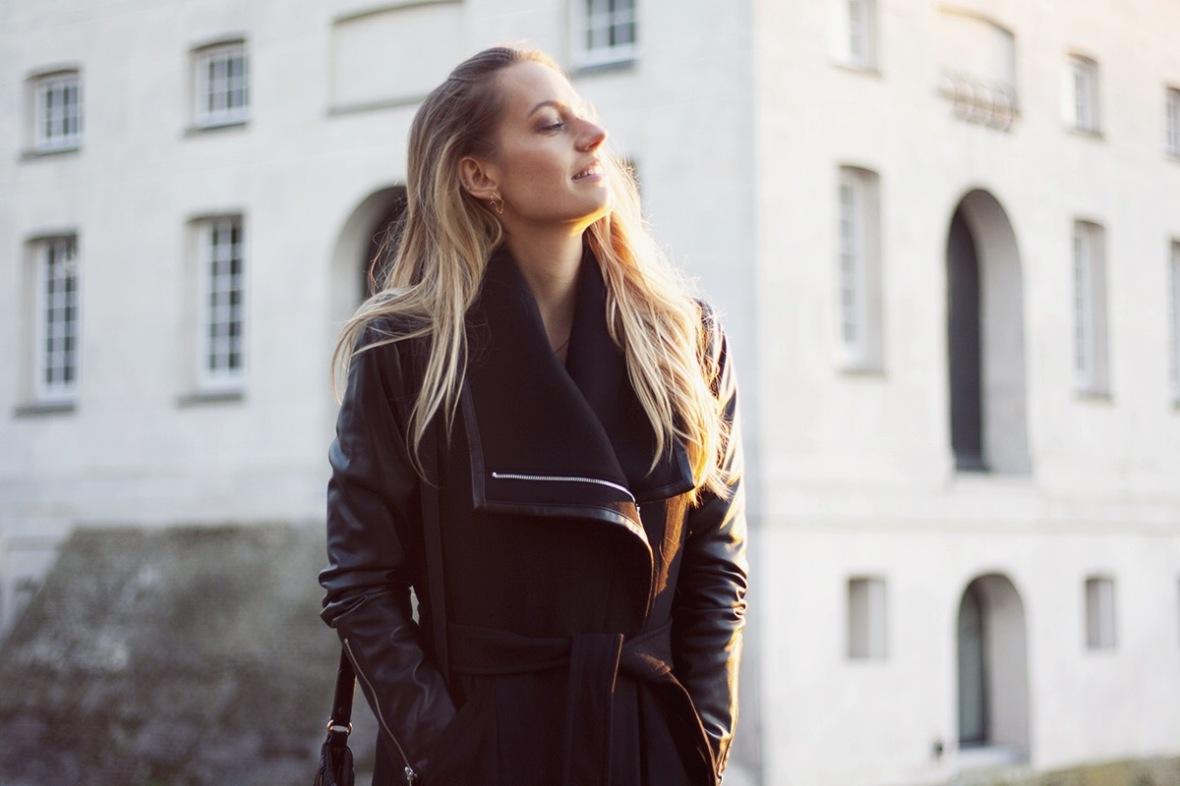 Fashion blogger Dawn levy coat vegan leather