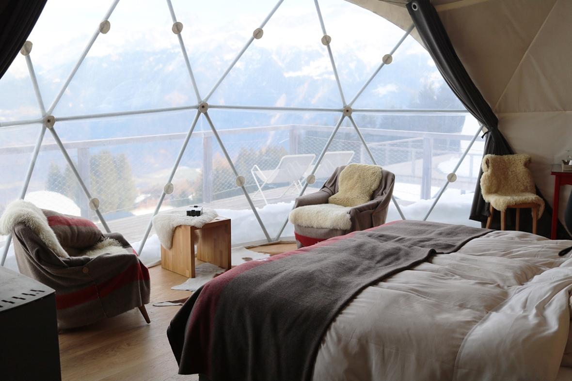 Whitepod hotel Switzerland review fashion blogger