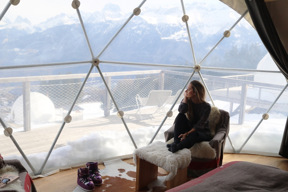 Whitepod hotel Switzerland review fashion blogger