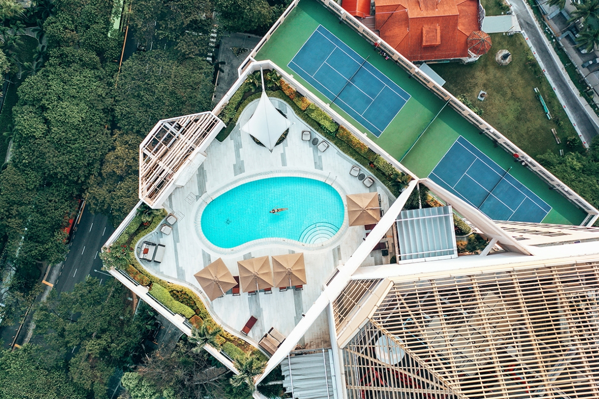 Review Four seasons Singapore after renovation rooms Pool tennis